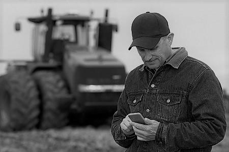 farmer on cell