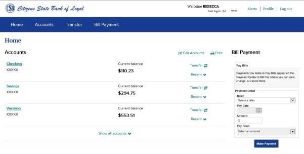 Screenshot of an online banking profile